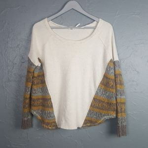 FREE PEOPLE Boatneck Sweater Knit Sleeve